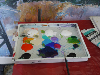 Artist Garry Kaye's Palette Colors in Acrylics
