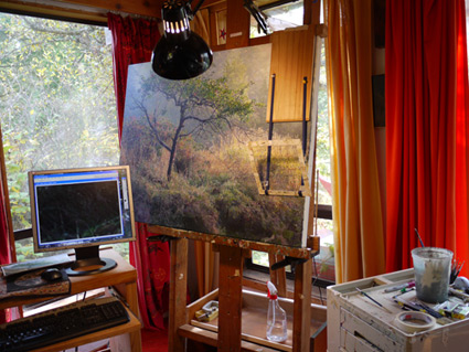 Artist Garry Artist Garry Kaye's studio setup with computer for Photoshop manipulation of his photo reference