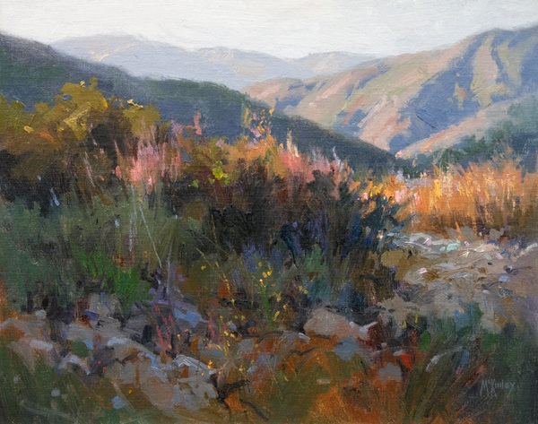 An oil painting, Last Light Ojai, by Richard McKinley