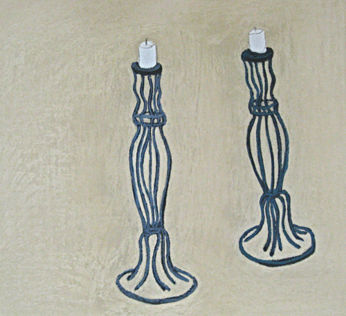 Two Blue Candlesticks | pastel