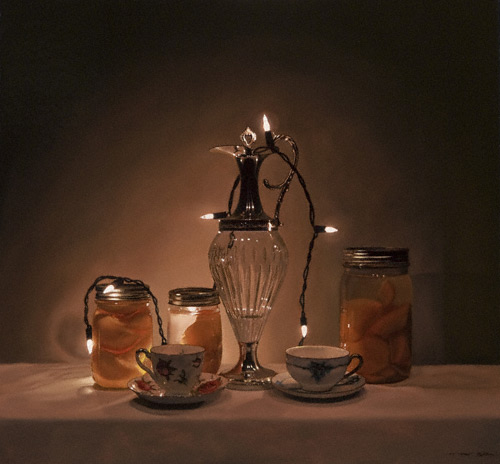 Wired Tea & Peaches | oil on panel