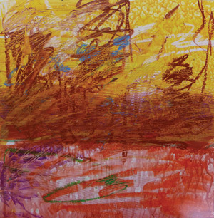 warm and cool colors, abstract landscape painting, calligraphy