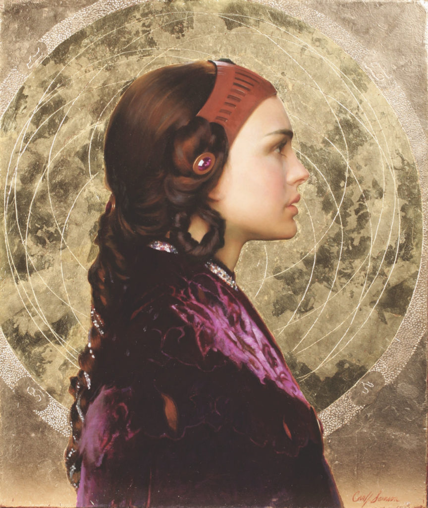 Padme Resplendent With Naboo Mandala (oil, 24 x 20) by Carl Samson | Star Wars Art | How Carl Samson Painted an Oil Portrait of Padmé for Star Wars Art: Visions by George Lucas