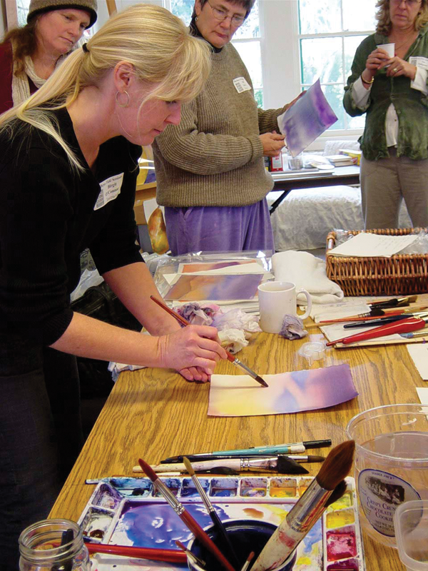 Birgit O'Connor in her art classes always does an in-depth painting demo