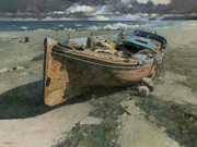 oil painting, boat painting, Xiao Song Jiang art