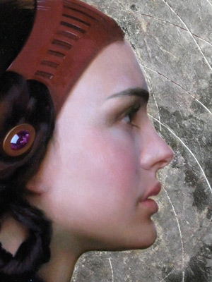 Oil Portrait of Padme 10 - Application of Gold Leaf | Star Wars Art | How Carl Samson Painted an Oil Portrait of Padmé for Star Wars Art: Visions by George Lucas