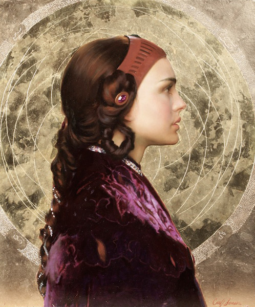 Padme Resplendent With Naboo Mandala (oil, 24x20) by Carl Samson (painting featured in the book Star Wars Art: Visions)