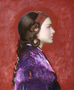 Oil Portrait of Padme 7 - Indian red ground background for Gold Leaf | Star Wars Art | How Carl Samson Painted an Oil Portrait of Padmé for Star Wars Art: Visions by George Lucas