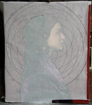 Oil Portrait of Padme 8 - Adjustments to Mandala Placement | Star Wars Art | How Carl Samson Painted an Oil Portrait of Padmé for Star Wars Art: Visions by George Lucas
