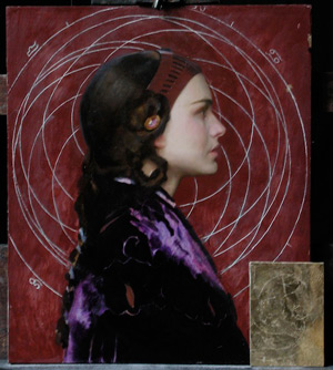 Oil Portrait of Padme 9 - Transfer and Incising of Mandala | Star Wars Art: How Carl Samson Painted an Oil Portrait of Padmé for Star Wars Art: Visions by George Lucas