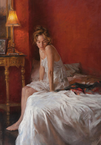 figure of a lady on the edge of a bed | paintings of the human form