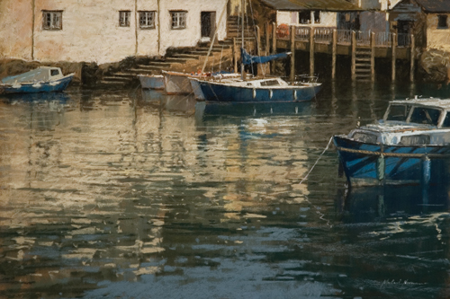 boats in Polperro at high tide | pastel landscape and architectural gallery