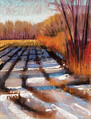 painting snow in pastel: step 5 | pastel demosntration