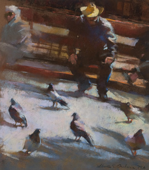 Pigeons (pastel) by Aline Ordman | pastel painting