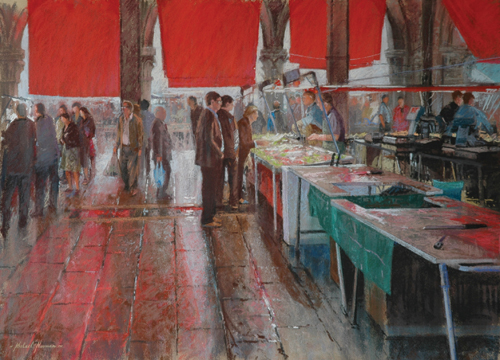 people in a marketplace | pastel landscape and architectural gallery