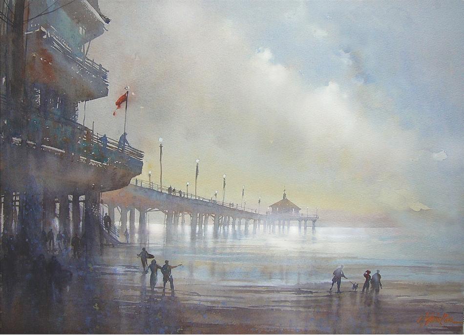 Splash: The Best of Watercolor Painting | Manhattan Beach Pier Painting