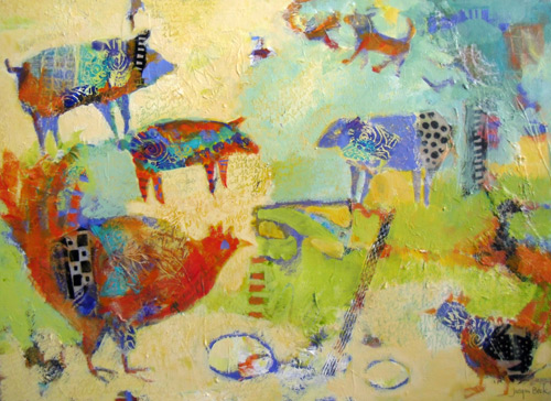 Farmyard Collective (acrylic painting, 18x24) by Jacqui Beck