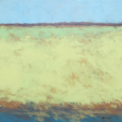 """Yellow Field"" (acrylic, 10x10) by Joe Bucci 