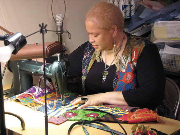 Mixed Media Artist Cynthia Lockhart in her studio