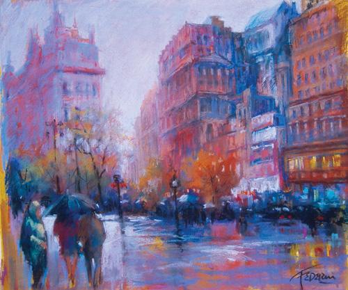 """Rainy Boulevard"" by Frank Federico | Pastel Landscapes"