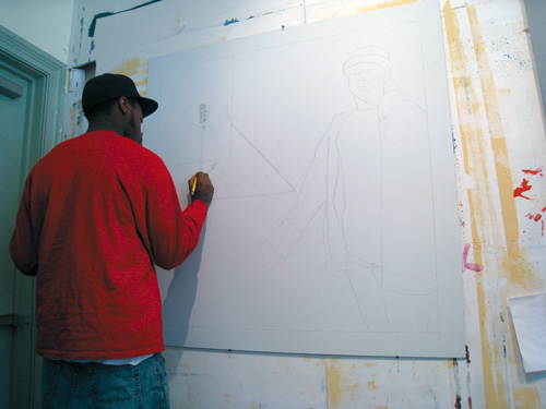 Markus Works on a Sketch for the Mural Arts Program | Thomas Eakins House