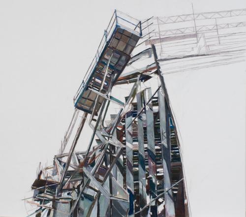 """Riverside Scaffolding V"" by Patricia Cain | Construction Art"