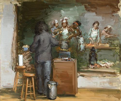 Women In Art III, Painting the Feast of Venus (oil, 40x48)