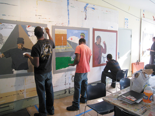 Anthony, Markus and Kenneth Paint Together for the Mural Arts Program | Thomas Eakins House