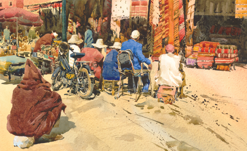 Carpet Sellers by Chris Myers | watercolor landscape