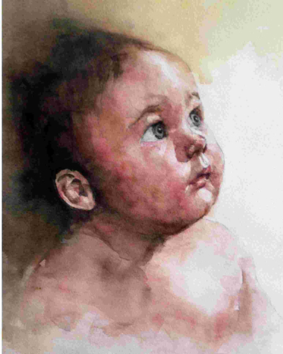 Baby Michael by Cheng Fen Yeh | watercolor portrait