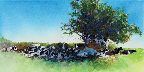 Cowpile by Cindy Evans | watercolor landscape