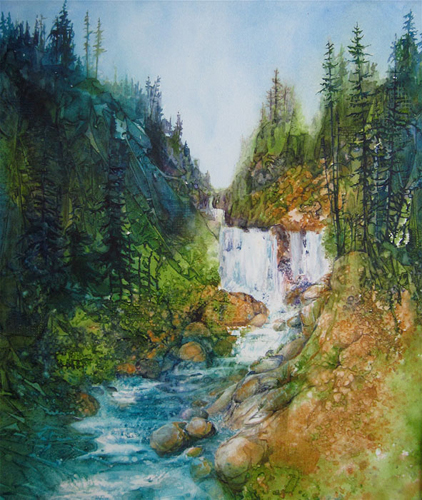 Mystic Falls Waterfall by Cindy Evans | watercolor landscape