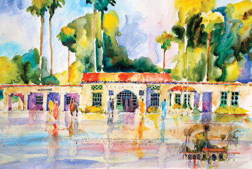 Pasadena Train Station by Joseph Stoddard | watercolor landscape