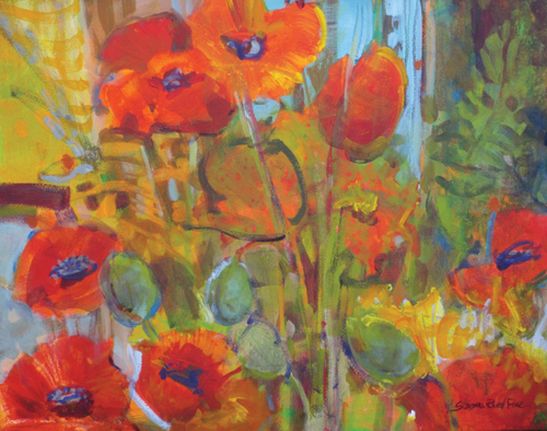 Taos Poppies by Suzanne Reed Fine | acrylic still life