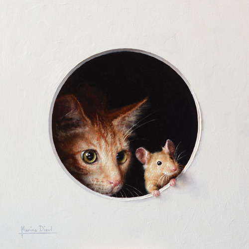 Marina Dieul fine art, cat and mouse painting