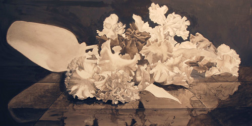 Grisaille step for artist Eric Wert's demo for how to paint flowers