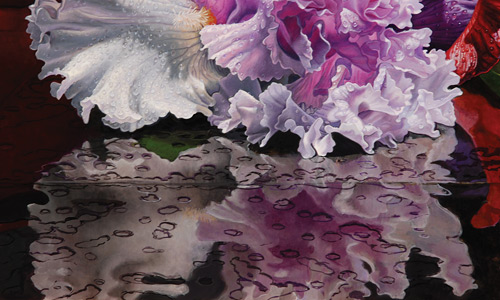 Tabletop detail for Eric Wert demonstration on floral still life
