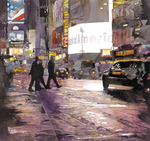 John Salminen, painting a rainy city