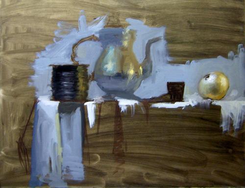 "Step 3, Establishing the Value Range for the still life painting ""Spool"""