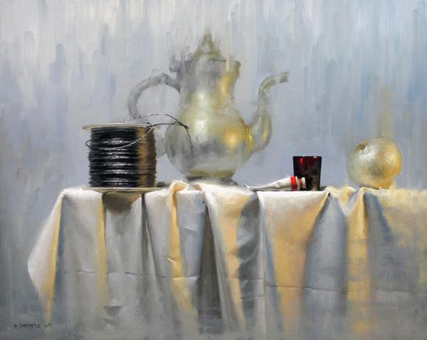 """David Cheifetz's winning oil still life painting """"Spool"""" (oil, 16x20)"""