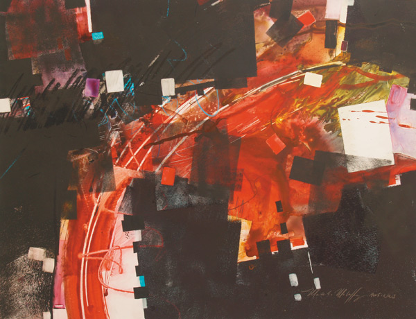 """Visual Layers: Red and Black"" (mixed watermedia on Yupo, 20x26) by Mark Mehaffey in article on how to create abstract art"