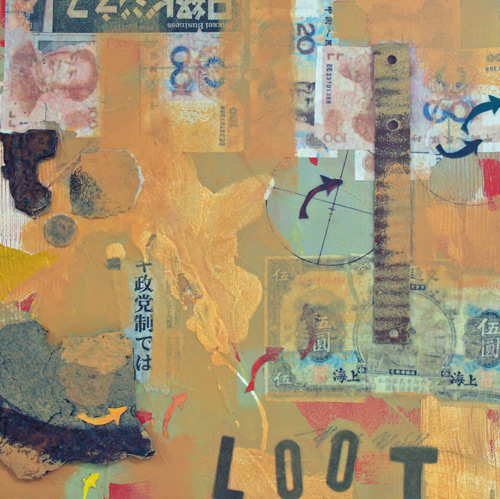 """Loot"" (mixed media collage, 12x12) by Mark E. Mehaffey how to create a good abstract design"