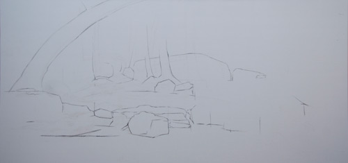 initial drawing of Ryan S. Brown landscape