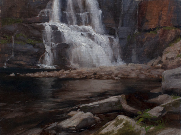 High Falls, Adirondacks (plein air oil, 9x12)