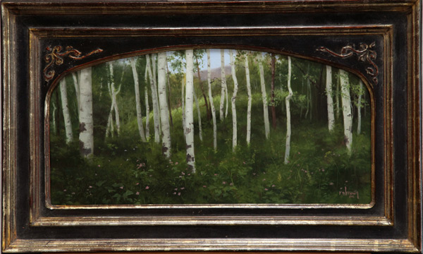 The Aspen Grove (studio painting; oil, 11x22)