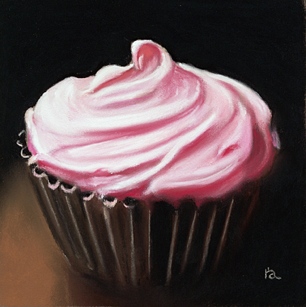 Pink Cupcake (pastel, 6x6) by Ria Hills