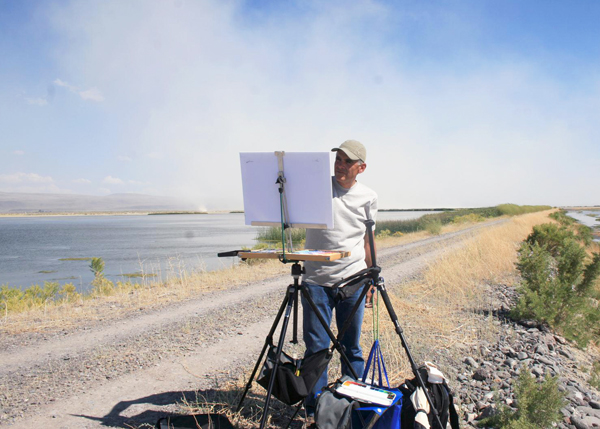 painting en plein air in pastel