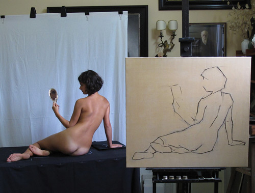 Justin Hess_art model_oil painting, Sight-size setup and block-in