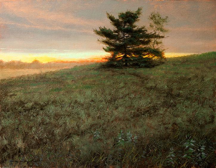 White Pine at Sunset - Proverbs 16:21by Thomas Kegler, oil on linen, 16 x 20.