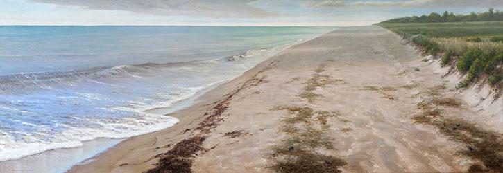 Summer Shore, 2 Corinthians 5:7by Thomas Kegler, oil on linen, 24 x 72.